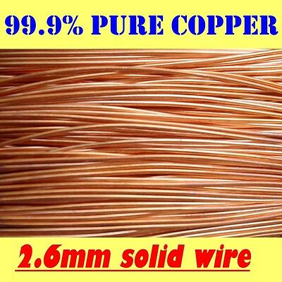 2 MT 2.6mm = 12G SWG = 10G AWG 99.9% PURE SOLID UNCOATED BARE COPPER WIRE