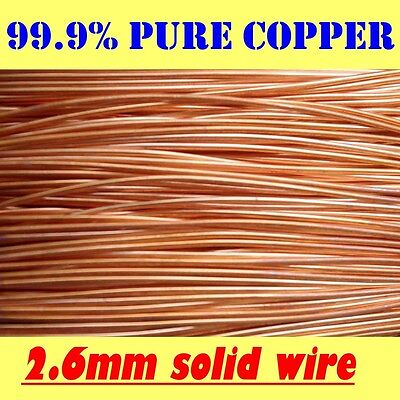 2 MT 99.9% PURE SOLID UNCOATED COPPER WIRE, 2.6mm = 12G SWG = 10G AWG