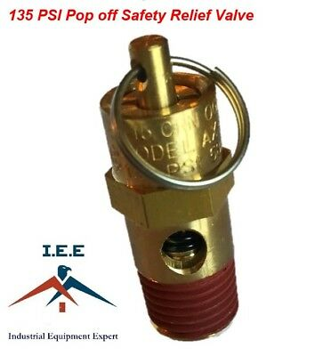 """135 PSI Air Compressor Safety Relief Pop Off Valve Solid Brass 1/4"""" Male NPT New"""