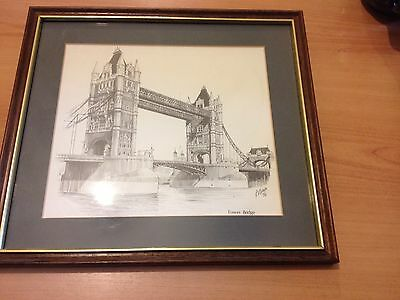 Framed Print Of A Line Drawing Of Tower Bridge In London.