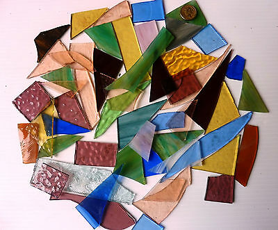 Leadlight Mosaic And Cut  Glass Off Cuts Multicolour Translucent & Opaque