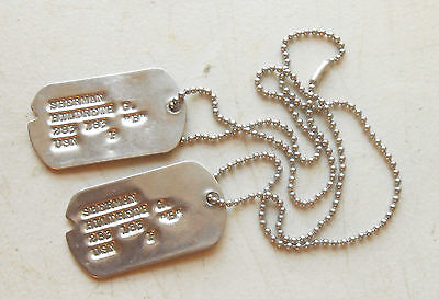 Original WW2 Navy Dog Tags to Hildreth G. Sherman at D-Day on USS Texas
