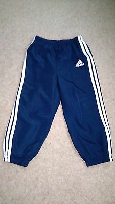 18-24 Month Adidas Sports Trousers– Shower-Proof Navy Blue With Trademark Strips
