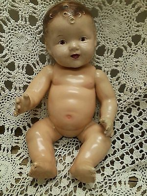 """15"""" All Composition Baby Doll ALL ORIGINAL Brown Painted Eyes ca 1930's"""