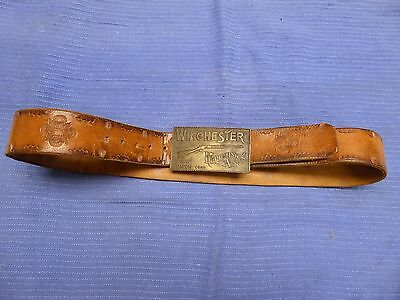 Vintage Winchester Belt with Brass Buckle Original Size 38 Repeating Arms Gun