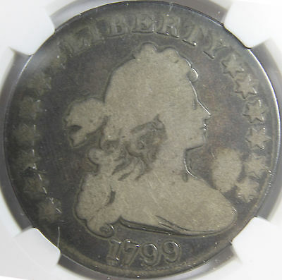 1799 Draped Bust Heraldic Eagle Reverse Silver Dollar NGC G 4.  Nice Clear Date.