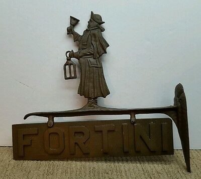 Vtg Bronze Colonial Antique Town Crier Sign Holder Wall Mount Two Sided