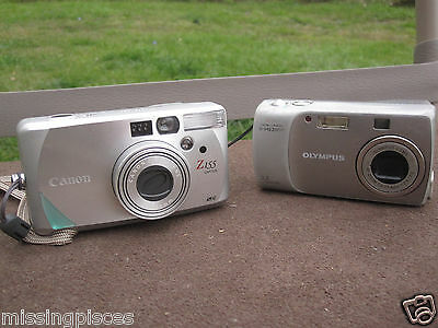 Mixed Lot Olympus D-540 3.2MP Digital Camera & Canon Z155 Caption 35mm Compact