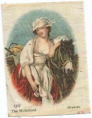"""1916 """"The Milkmaid"""" CANVAS MASTERPIECE Silk-B.D.V. Cigarettes Insert-100+Yrs Old"""