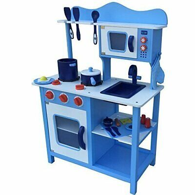 Blue Kids Wooden Play Cooking Kitchen Set Toy Childrens Wooden Toy Pretend Play