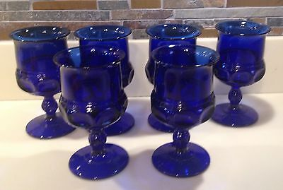 Indiana Kings Crown Water Goblets Deep Cobalt Blue Tiara Glass Set Of 6 Perfect