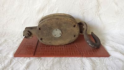 Antique Old Hanging Barn Block and Tackle Pulley
