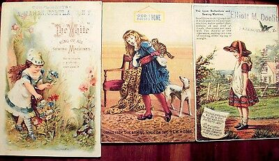 Lot of 3 Victorian Sewing Machine Trade Cards -NEW HOME, WHITE, and LOVE