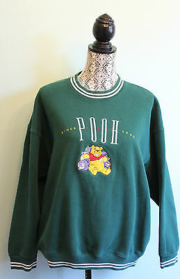 Adult Unisex Vintage Disney Winnie the Pooh EmbroideredGreen Pullover Sweater