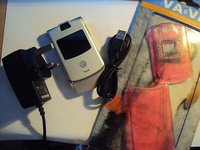 Motorola Razr  V3 Mobile Phone T-Mobile / Virgin/ee With Charger+Usb+New Cover