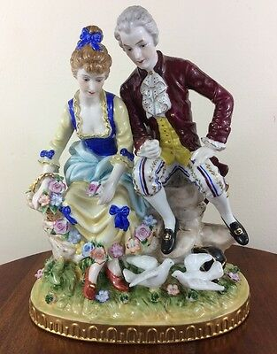Gorgeous Large RK Dresden Figural Grouping, Courting Couple Sitting On Rock