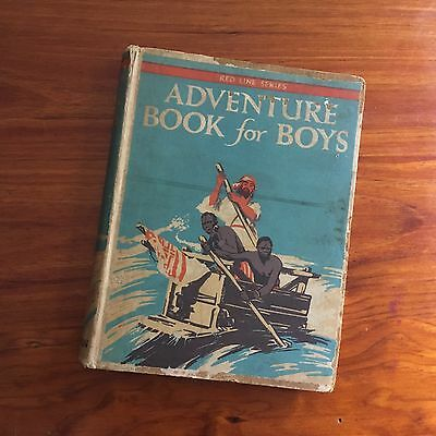 1928 Red Line Adventure Book For Boys With Inscription Inside Cover