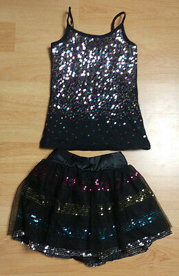 LOT OF 2 Sequin Outfit Shirt Mini Bubble Skirt Justice Girls Size 8 Black Top