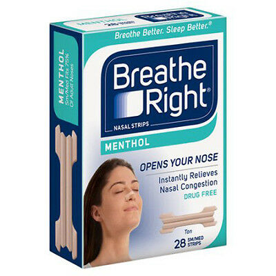 Breathe Right Nasal Strips Mentholated Vapor Strips - Sm/Med 28 Ct ONE BOX, RARE