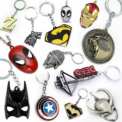 Metal Keychain Keyring Marvel Star Wars Game of Thrones TV Movie key ring chain
