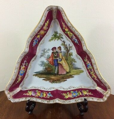 Antique RK Dresden Triangular Cabinet Bowl, Cranberry, Courting Couples