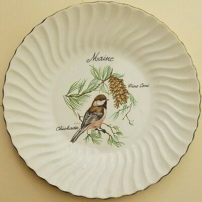 """Maine 9.5"""" state collectible plate with golden rim"""
