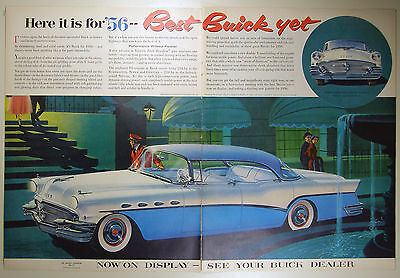 Vintage 1956 BUICK Automobile Large Two-Page Magazine Print Ad: ROADMASTER