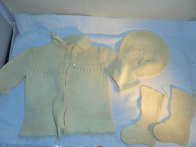 Vintage knit baby clothes jacket hat booties