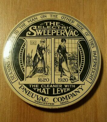 VTG 1920s Electric Sweeper Vac Celluloid Pocket Mirror Paperweight Worcester, MA