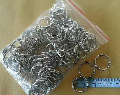 "100 scrapbooking hinged rings 25mm dia Document Binding rings 1"" 2.5cm"