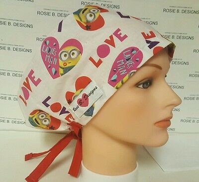Minions  Mania  On  Valentine/ Hat Pixie Scrub Surgical/ Caps / Chemo Hat /
