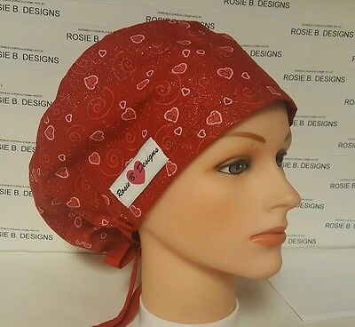 Sparkling  Valentine Hearts / Hat Pixie Scrub Surgical/ Caps / Chemo Hat /