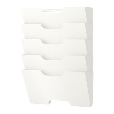 IKEA Wall Mounted Steel Newspaper Rack Book Magazine File Paper Holder in White