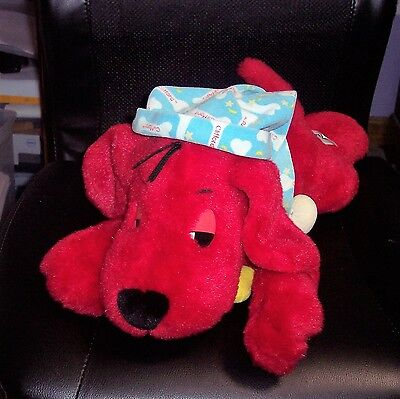 """Snoring Clifford the Big Red Dog Plush Dog 16"""" With Sleep Hat GUC"""