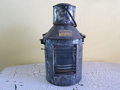 Antique Nautical Oil Fired Morse Code Lantern Light ~ Old Meteorite Ships Lamp