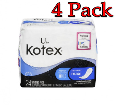 U by Kotex Maxi Pads, Regular, Unscented, 24ct, 4 Pack 036000010039T3600