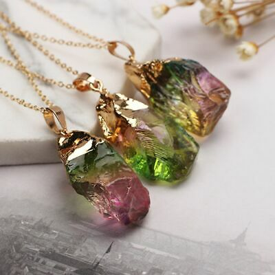 Chakra Natural Crystal Point Healing Colorful Stone Necklace Pendant Quartz
