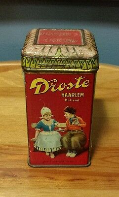 """EARLY 1900s DROSTE DUTCH PROCESS COCOA 4oz TIN CANISTER MADE IN HOLLAND 4"""" TALL"""