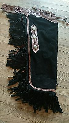 Suede Leather Chinks with Basket Stamp Tooled Yoke Size Small