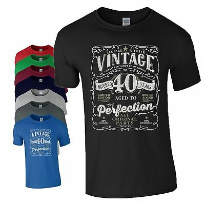 40th Birthday Gift T Shirt Made In 1979 Original Parts 40 Years Mens Tee Top