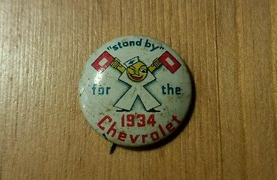 """1934 Chevrolet Advertising Pin 0.75"""" Nice Condition"""