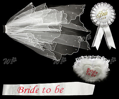 Bride to Be Party Ladies Girls Hen Party Sashes Badge Sash Garter Veil