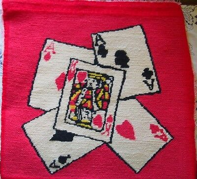 Vintage Complete Poker Cards Aces Counted Cross Stitch Embroidery Needlepoint