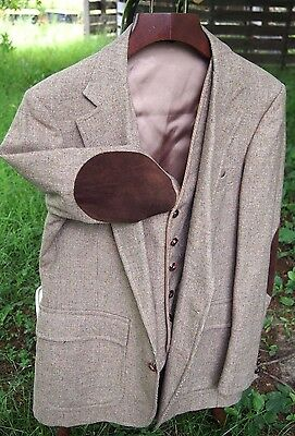 Mens Vintage 3 Piece Wool Tweed Suit Suede Elbow Patches Size 42 Jacket 34/30