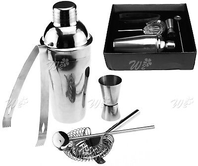 New5pcs Stainless Steel Home Cocktail Shaker Wine Party Mixer Tool Set With Case