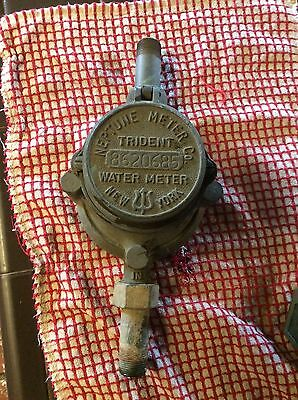 VINTAGE BRASS WATER METER TRIDENT NEPTUNE INDUSTRIAL early New York made