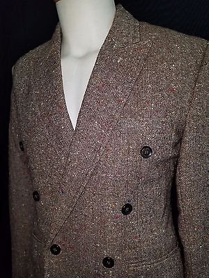 EXC Mad Cool Mens 60s Vintage Double Breasted Wool Tweed Blazer Brown Small 38R