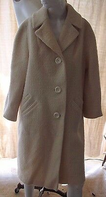 Womens Mid Century Vintage Ivory Wool Tweed Winter Coat Large LG L Pockets Long