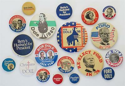 1976 to 1996 DOLE and FORD Vintage Orig Lot of 19 POLITICAL PINBACK BUTTONS