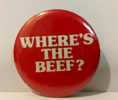 "Vintage ""Where's the Beef?"" Wendy's Advertising Pinback Button"
